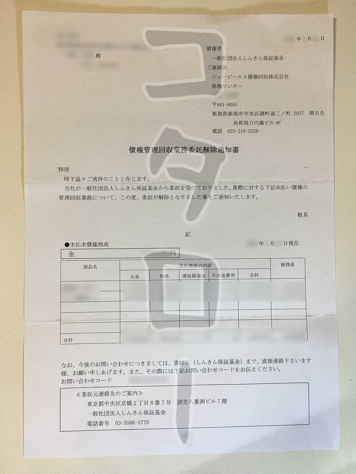 債権管理回収業務委託解除通知書