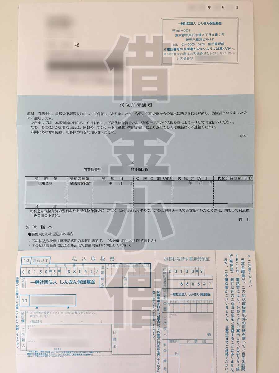 しんきん保証基金代位弁済通知2