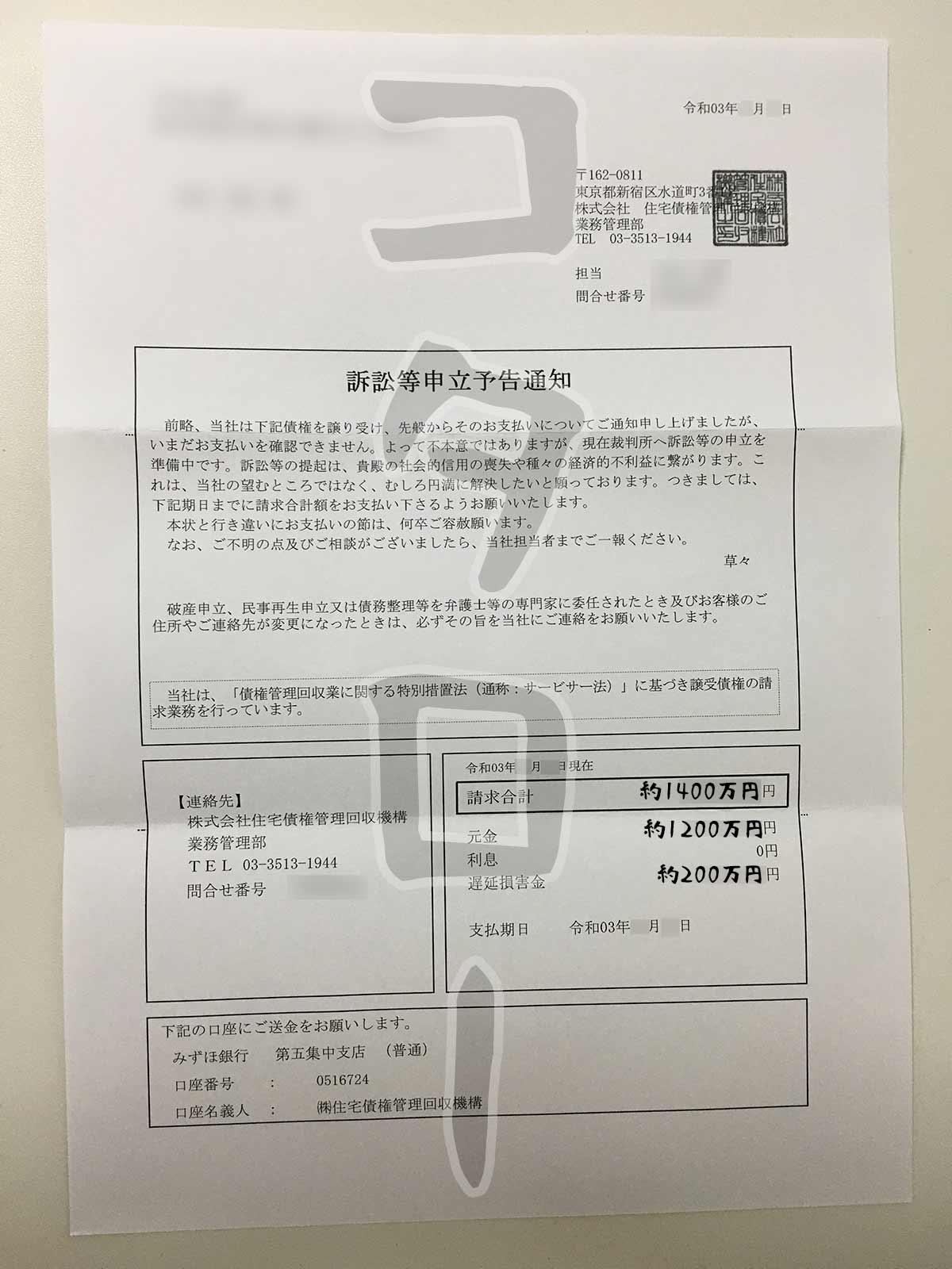 住宅債権管理回収機構訴訟等申立予告通知-min
